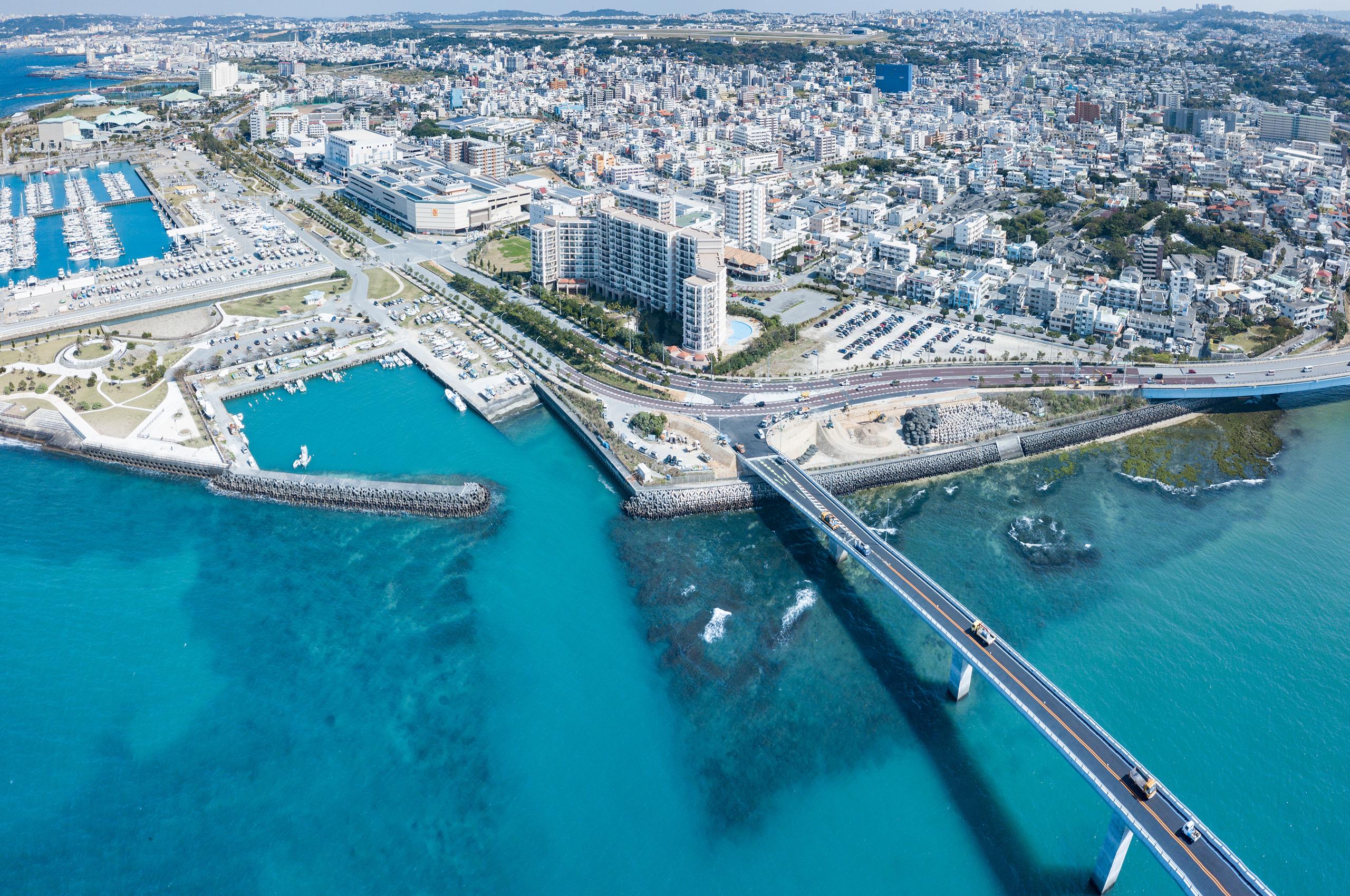 沖縄上空からの撮影